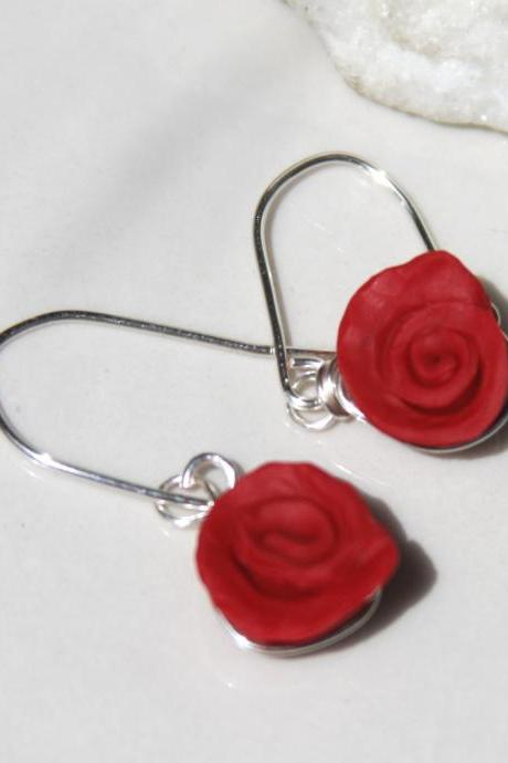 Sterling Silver Red Rose Dangle Earrings, Rose Bud Dangle Earrings