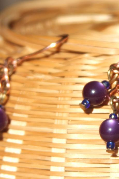 Dark Purple Cluster Dangle Copper Earrings Handmade