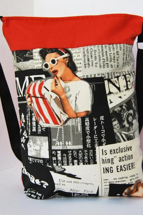 Gipsy tote with pin up print in black by El rincón de la Pulga