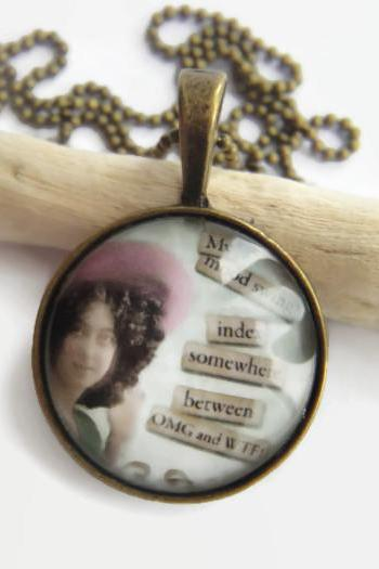 Retro sassy mood swing index glass necklace or keychain