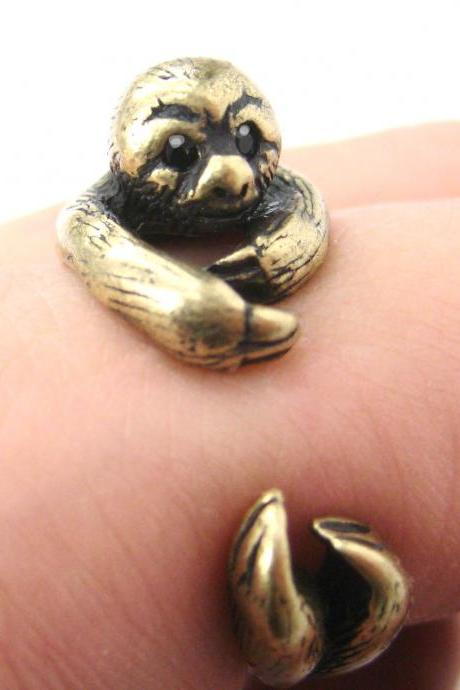 Realistic Sloth Animal Wrap Around Hug Ring in Brass - Sizes 5 to 10 Available