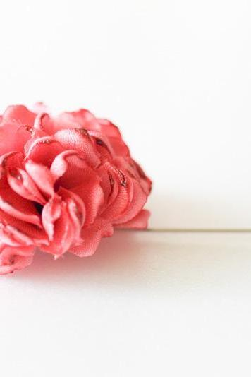 ESTHER-Coral pink Men's flower Boutonniere/Buttonhole for wedding,Lapel pin,hat pin,tie pin