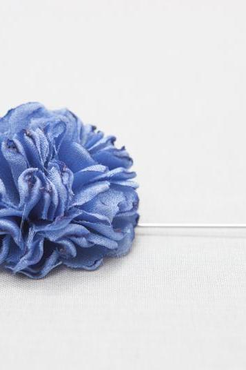 ESTHER-Blue Men's flower Boutonniere/Buttonhole for wedding,Lapel pin,hat pin,tie pin