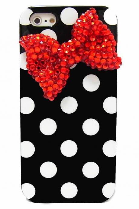 Bling Crystal Soft Polka Dot Black White iphone 6 6s Case, iphone 6G Red Bow Case, iphone 6 6s Plus Bow Case, unique iphone 6 6s Case Cover A1,iphone 6s case,bow iphone 6 6s Plus case,bling iphone 6 6s Plus 5.5 case