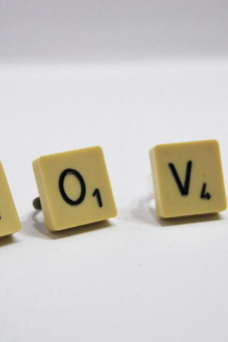 Scrabble adjustable ring- Choose the letter you prefer -Recycle to upcycle by El rincón de la Pulga