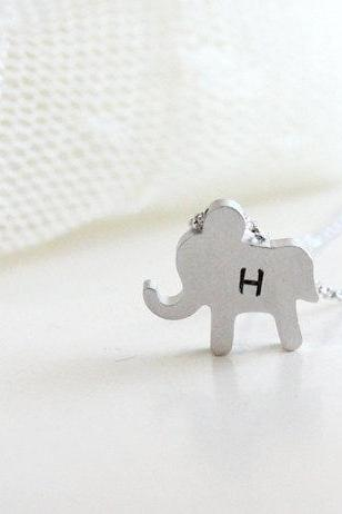 Personalized initial elephant necklace, initial jewelry