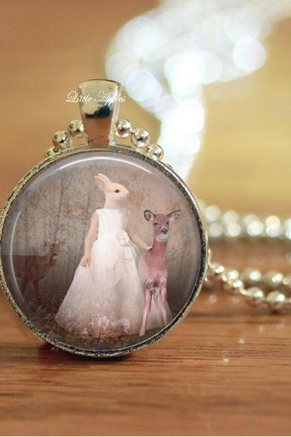 huamn rabbit and deer in forest glass necklace or keychain