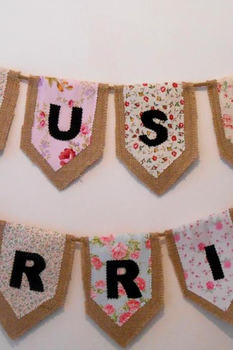 Just Married rustic bunting banner Photo prop