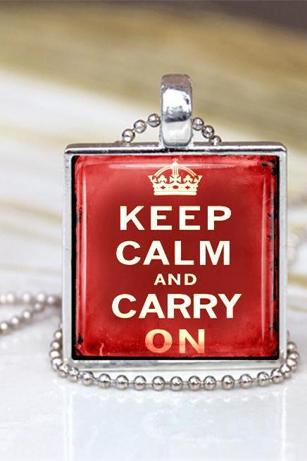 Vintage Keep Calm And Carry On Pendant Red