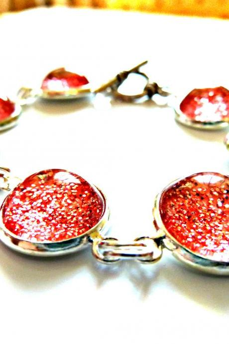 Galaxy Light Red Bracelet Garden of England Jewellery made with Glass Cabochons