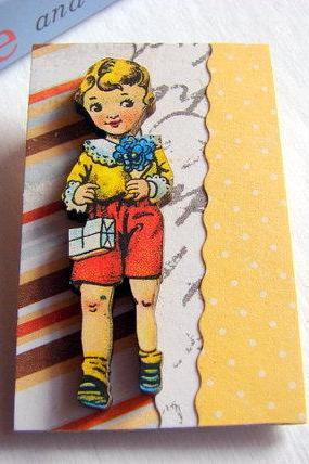 First Date - Boy With A Gift And Flower Bouquet 3D Dimensional Pin Badge Brooch - Lg Chipboard Paper And Wood Decoupage Collage - Orange Blue Pink Polka Dots
