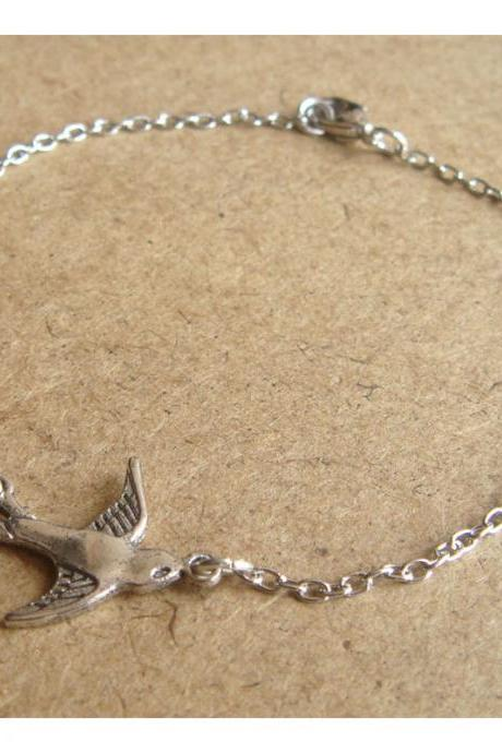 Bird Chain Bracelet, Simple Everyday Jewelry, Elegant gift, Bridesmaid Gift, Bridal Wedding Jewelry