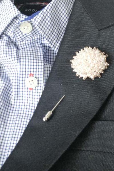 IVORY-Pearl beaded circle Men's Flower Boutonniere / Buttonhole For Wedding,Lapel Pin,Tie Pin.