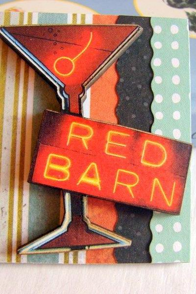 Vintage Neon Sign - Red Barn Martini Cocktail Bar 3D Dimensional Pin Badge Brooch - Lg Chipboard Paper And Wood Decoupage Collage - Orange Blue Pink Polka Dots