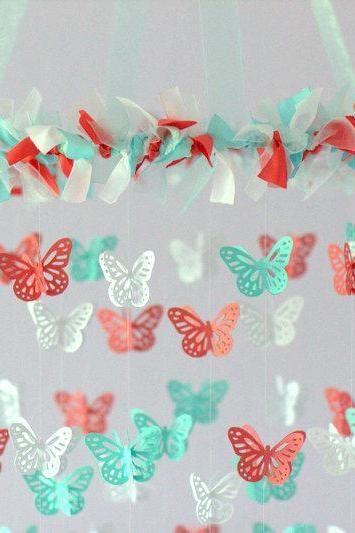 Coral, Aqua & White Butterfly Nursery Mobile