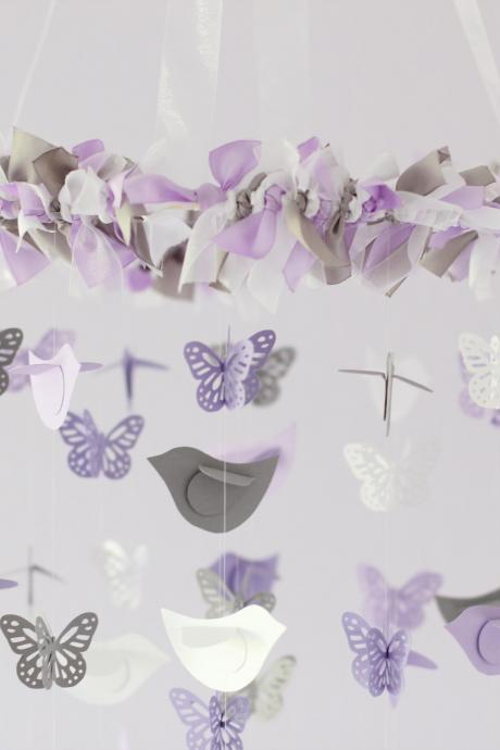 Lavender, Gray & White Butterflies and Birds Nursery Mobile
