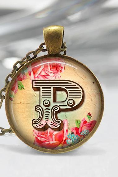 Floral Initial Necklace,Glass Art Pendant Picture Pendant Photo Pendant Hancrafted