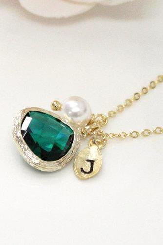 Emerald Stone Bridesmaid Necklace, with Swarovski pearl, Dark Green, Initial Necklace, Bridesmaid Gift, Personalized Necklace, Maid of Honor