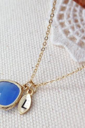 Blue Opal Stone Necklace With Initial Leaf Charm
