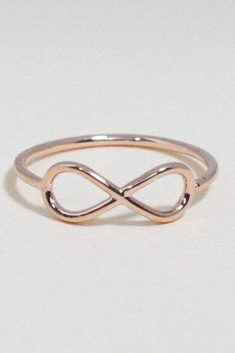 Infinity ring 7.5 size in pink gold - everyday jewelry, delicate minimal jewelry, Happy price for this ring! $13 => $7!!!
