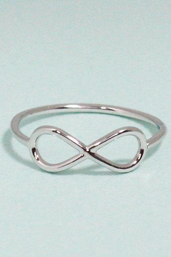 Infinity ring 7.5 size in white gold - everyday jewelry, delicate minimal jewelry, Happy price for this ring! $13 => $7!!!
