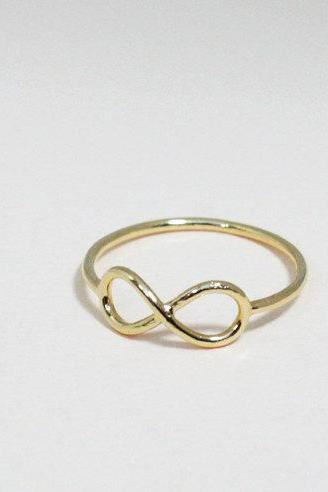Infinity ring 7.5 size in gold - everyday jewelry, delicate minimal jewelry, Happy price for this ring! $13 => $7!!!