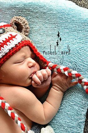 Crochet Sock Monkey Hat, Newborn Sock Monkey, Sock Monkey Hat, Baby Boy - Made To Order