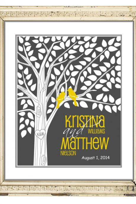 Wedding signature tree-guestbook alternative 18x24 100 signatures