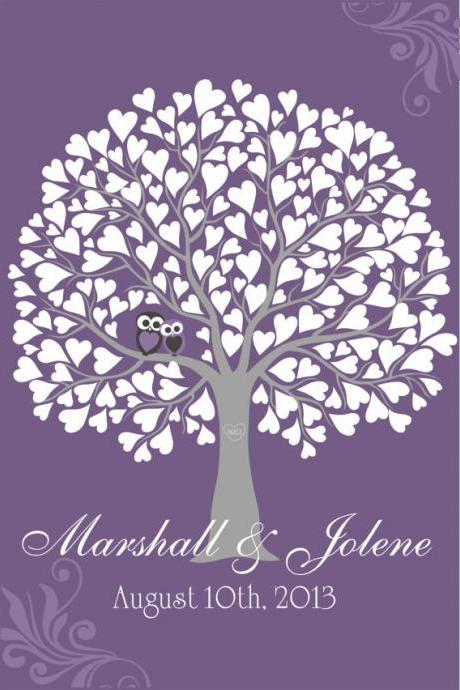 Personalized Wedding Signature Tree 16x20 holds 75 signatures guest book alternative with owls