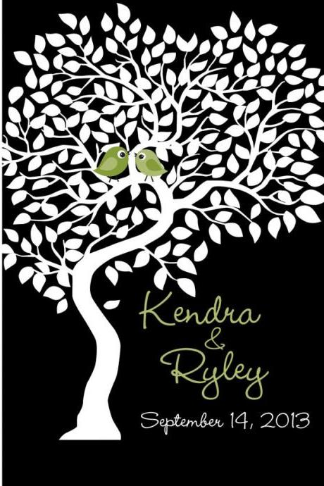 Custom Wedding Signature Tree 24x36 signatures- wedding guest book alternative