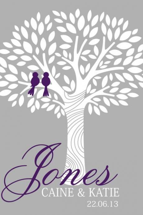 Personalized wedding signature tree, 16x20 100 signatures guest book alternative, wedding fingerprint tree