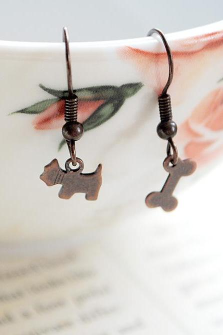 Dog & Bone Dog Lover Mismatched Earring Set, Tiny