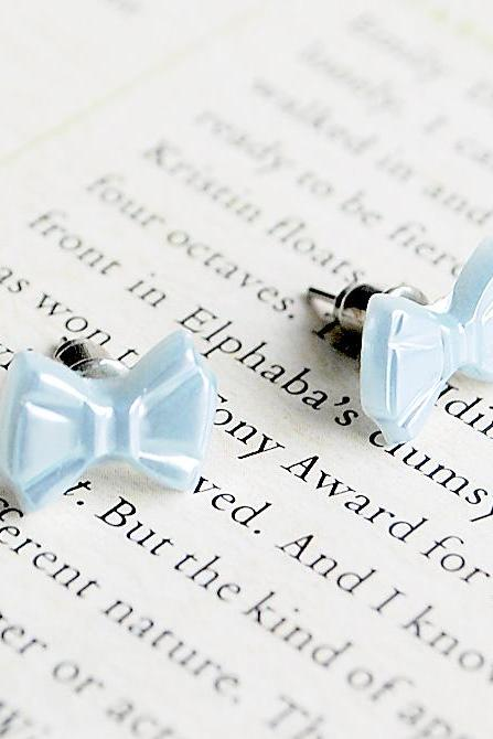 Tiny Blue Bow Stud Earrings, Pearlised, Nickel Free