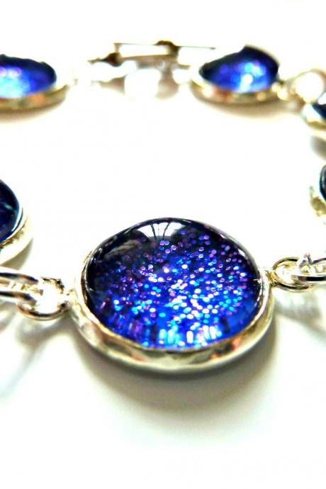 Galaxy Dark Blue Bracelet Garden of England Jewellery made with Glass Cabochons