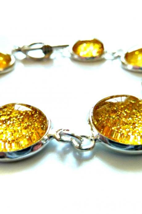Galaxy Golden Bracelet Garden of England Jewellery made with Glass Cabochons
