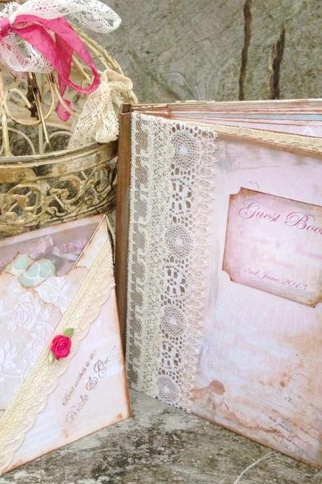 Bird Cage themed Wedding Guest book - Pink and Ivory in vintage style - 24 page