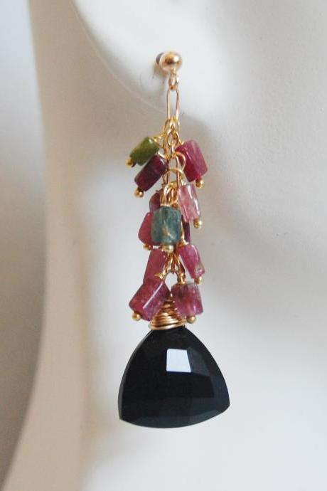 Black Spinel- Multi Tourmaline Cluster Dangle drop Earrings