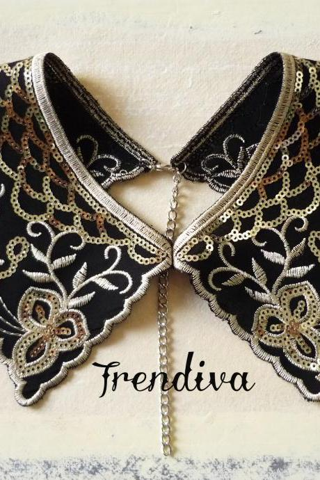 Black and Gold Gorgeous Lace Collar Fashion Fake Collar Necklace