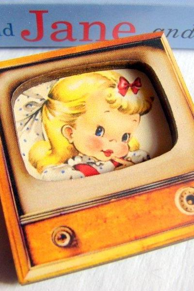 Sweet Little Girl With A Bow In Her Hair - Television TV 3D Dimensional Pin Badge Brooch - Lg Chipboard Paper And Wood Decoupage Collage - Orange Blue Pink Polka Dots