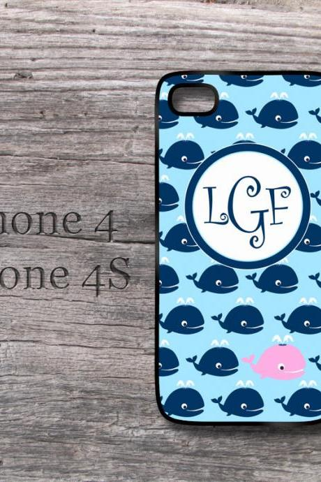 Blue whales iPhone case nautical cute snap on cover for iPhone4 / 4S and iPhone 5 aqua with pink whale