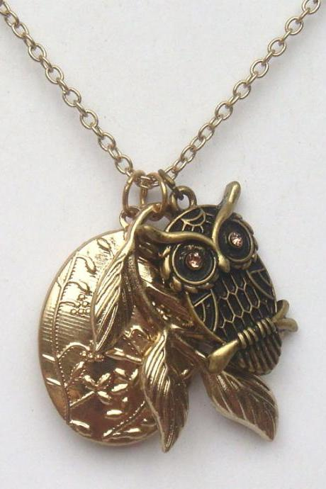 Antiqued Brass Owl Branch Locket Necklace