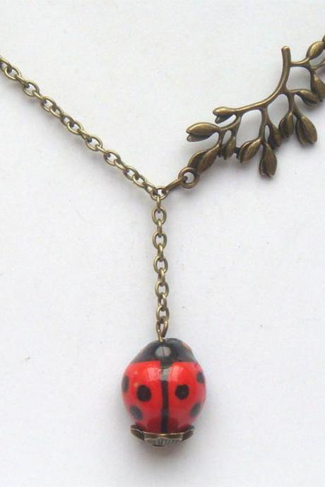 Antiqued Brass Leaf Red Porcelain Ladybug Necklace