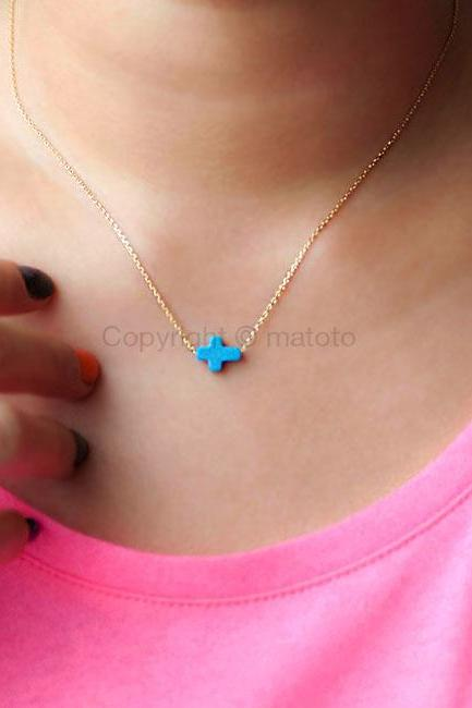 Tiny Turquoise Sideways Cross Necklace, Baby Cross Necklace, Gold / Silver Chain Option