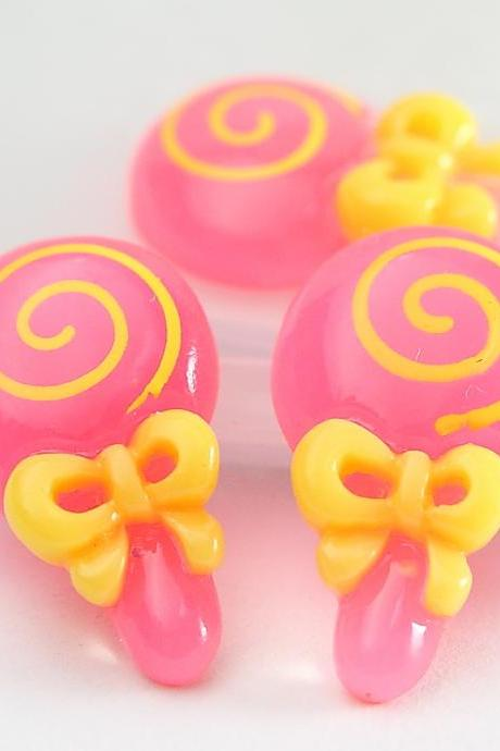 Pink Lollipop Candy Resin Cabochons 10pc