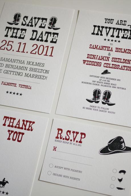 Western / Country - Wedding Invitation Set (PRINTABLE) - Set of 4