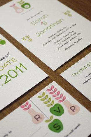 Apples & Pears - Wedding Stationery Set (PRINTABLE) - Set of 4