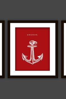 3 Nautical Bathroom Art Prints, ANY color (Anchor, Seahorse, Scuba Helmet)