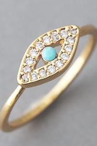 Turquoise Evil Eye Ring Gold Evil Eye Jewelry - US 6.5, US 8