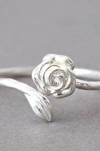 Rose Shaped Ring Sterling Silver Wrap Ring