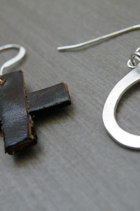 XO Fine Silver Earrings Handmade Hugs and Kisses Earrings Brown Recycled Leather Minimalist Jewelry by SteamyLab